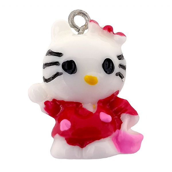 Acrylic Standing Waving Kitty Red 16x21mm